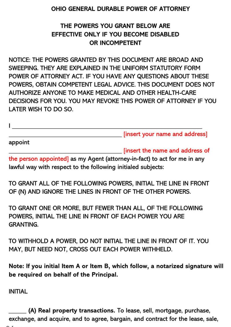 Ohio Durable POA Form