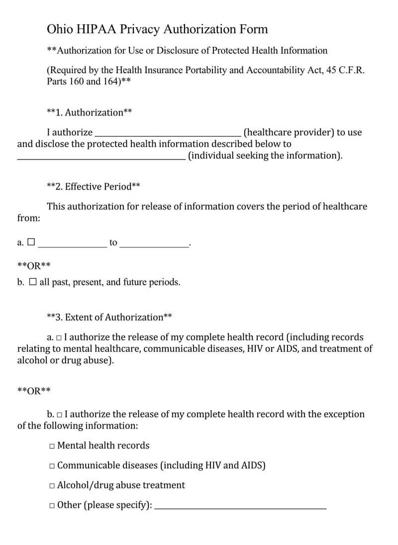 Ohio HIPAA Medical Release Form
