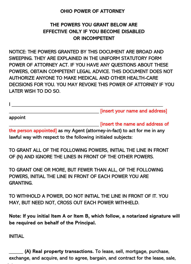 free limited power of attorney form for ohio