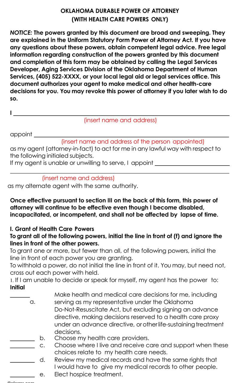 Oklahoma Medical POA Form