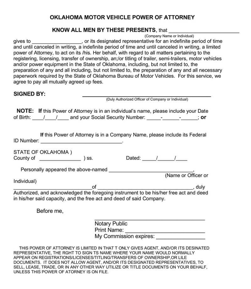 power of attorney form kansas vehicle  Motor Vehicle Power of Attorney (POA) Forms (by State ...