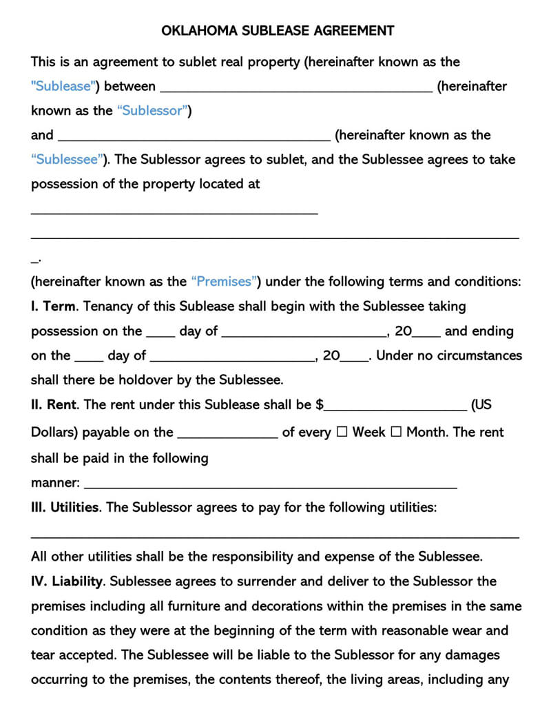 Oklahoma SubLease Agreement Template