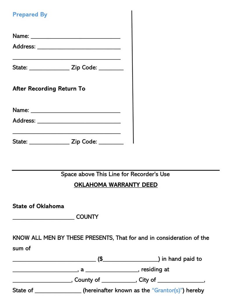 Oklahoma Warranty Deed Form