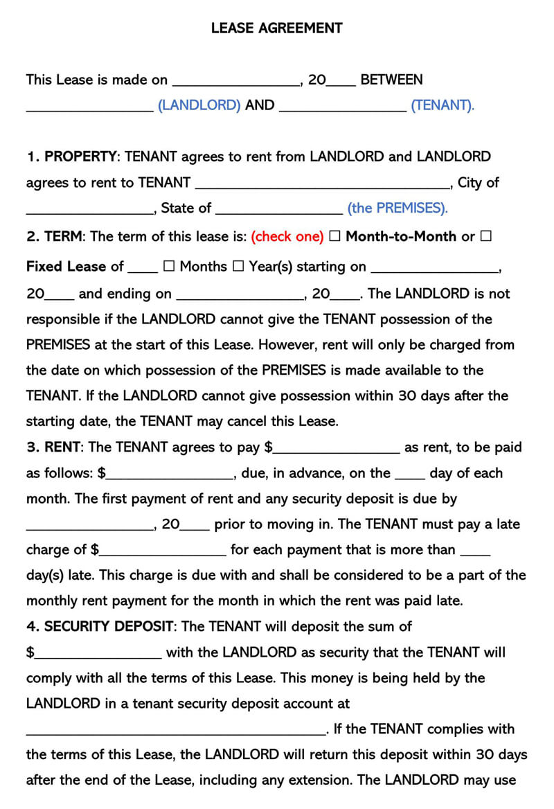 Free One 1 Page Lease Agreement Templates By State