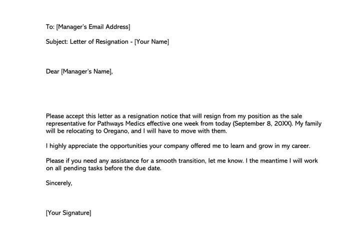 One week notice resignation email example