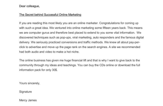 Online Marketing Letter