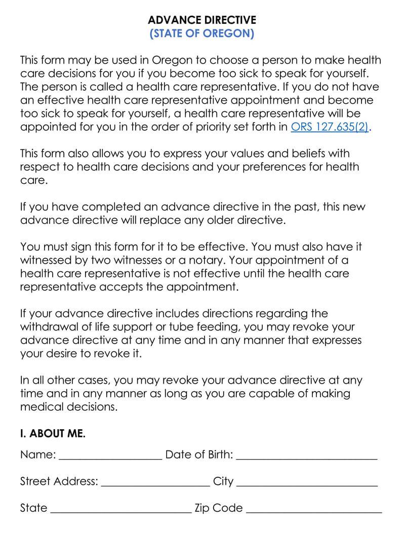 Oregon Medical POA Form