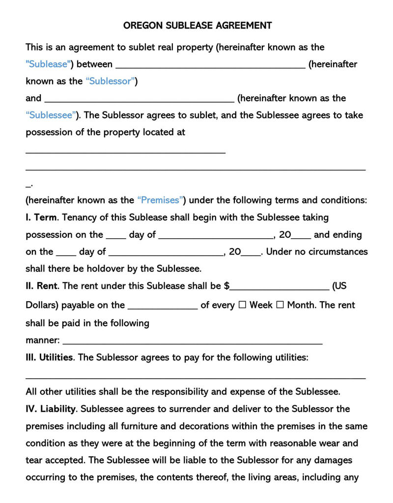 Free Commercial Sublease Agreement Templates By State