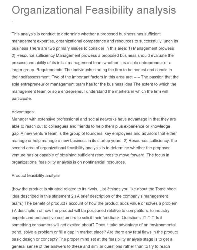 Organizational Feasibility Analysis