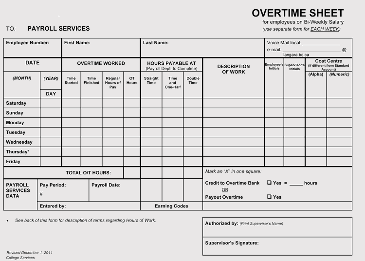 Monthly Overtime Sheet Template