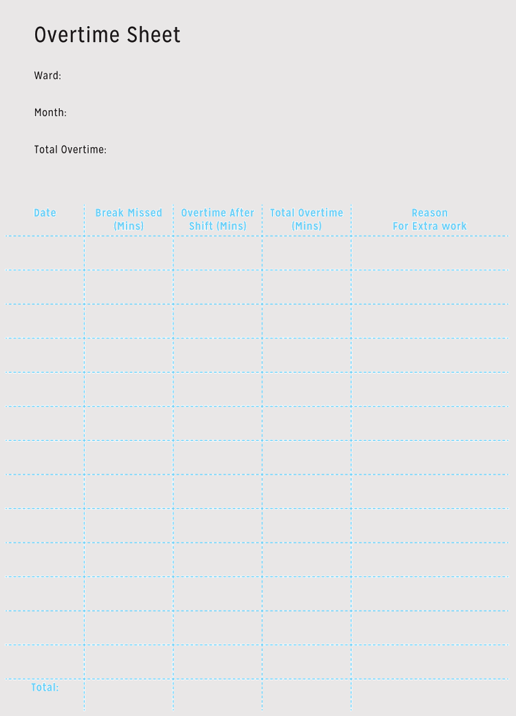 Overtime Sheet Template PDF Format