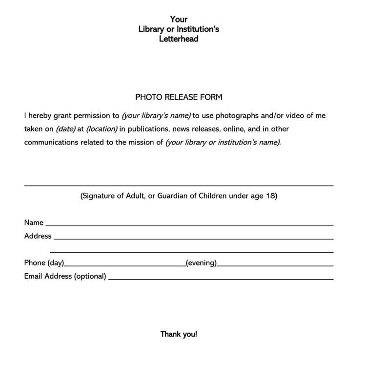 30 Free Photo Release Forms For Adults Minors Word Pdf