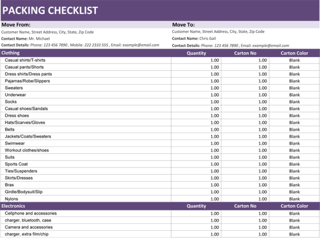 Packing List Format for Excel