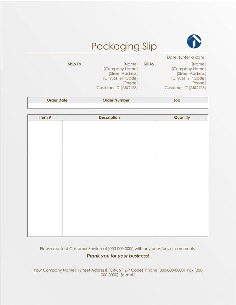 sample packing list format