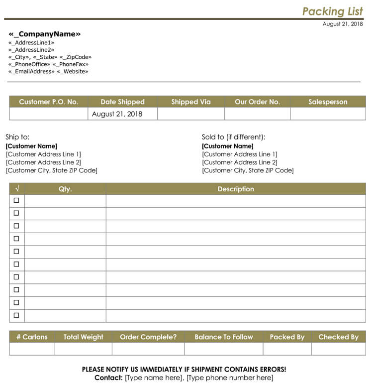 Packing Slip Template Quickbooks