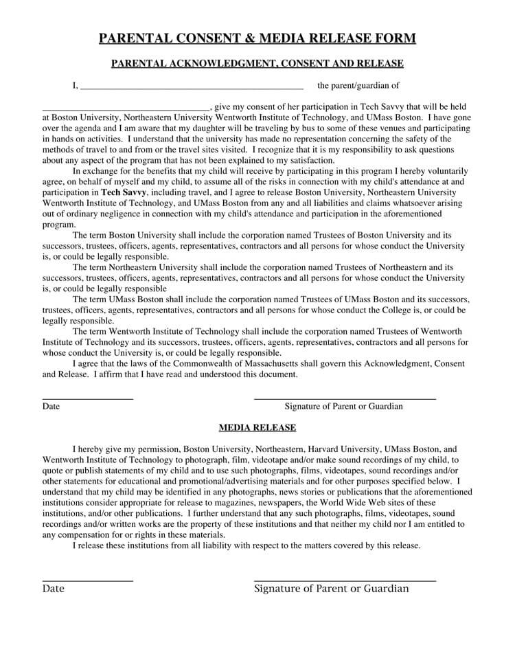 Parental Media Release Form Template