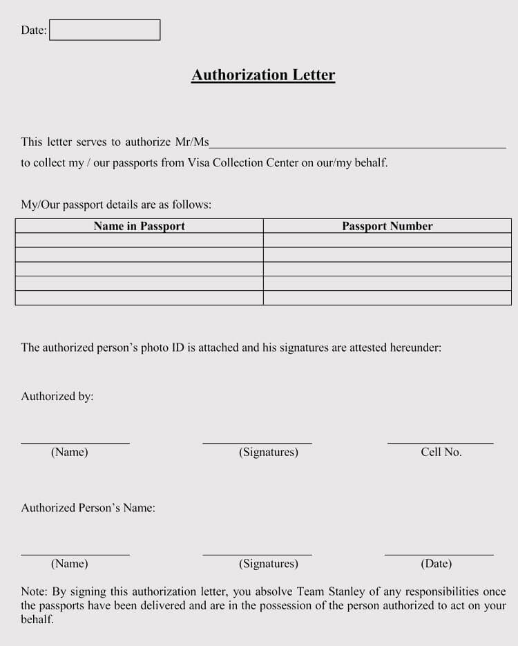 Authorization Letter to Collect Passport (5+ Samples & Templates)
