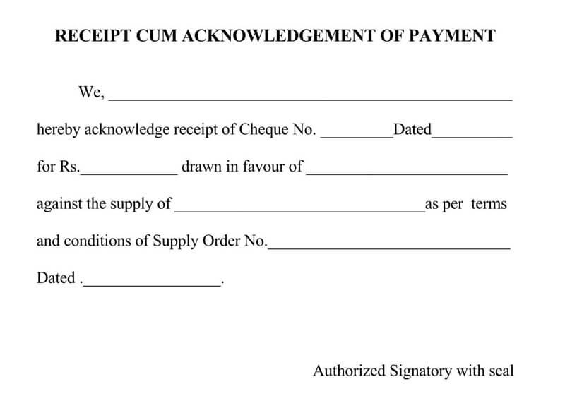 Payment Acknowledgement Receipt Template