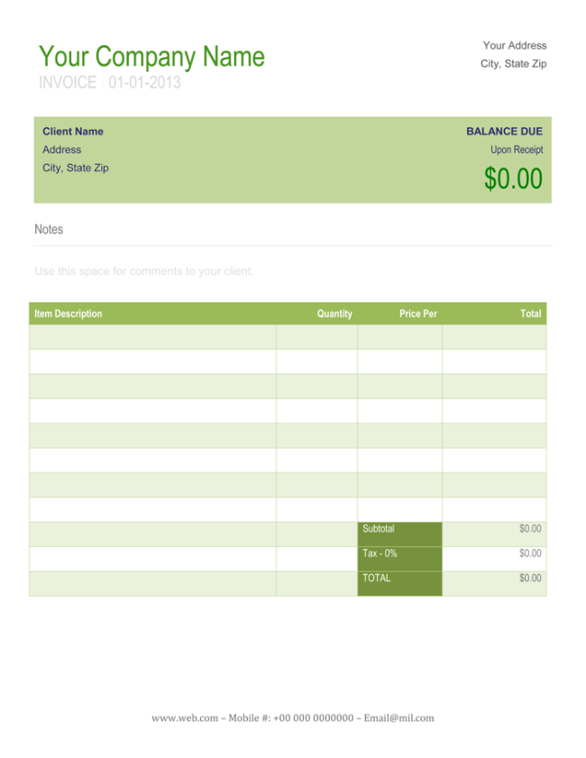 Payment Receipt Template in Word