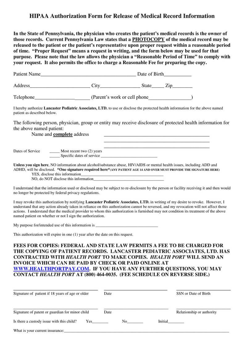 Pennsylvania HIPAA Medical Release Form