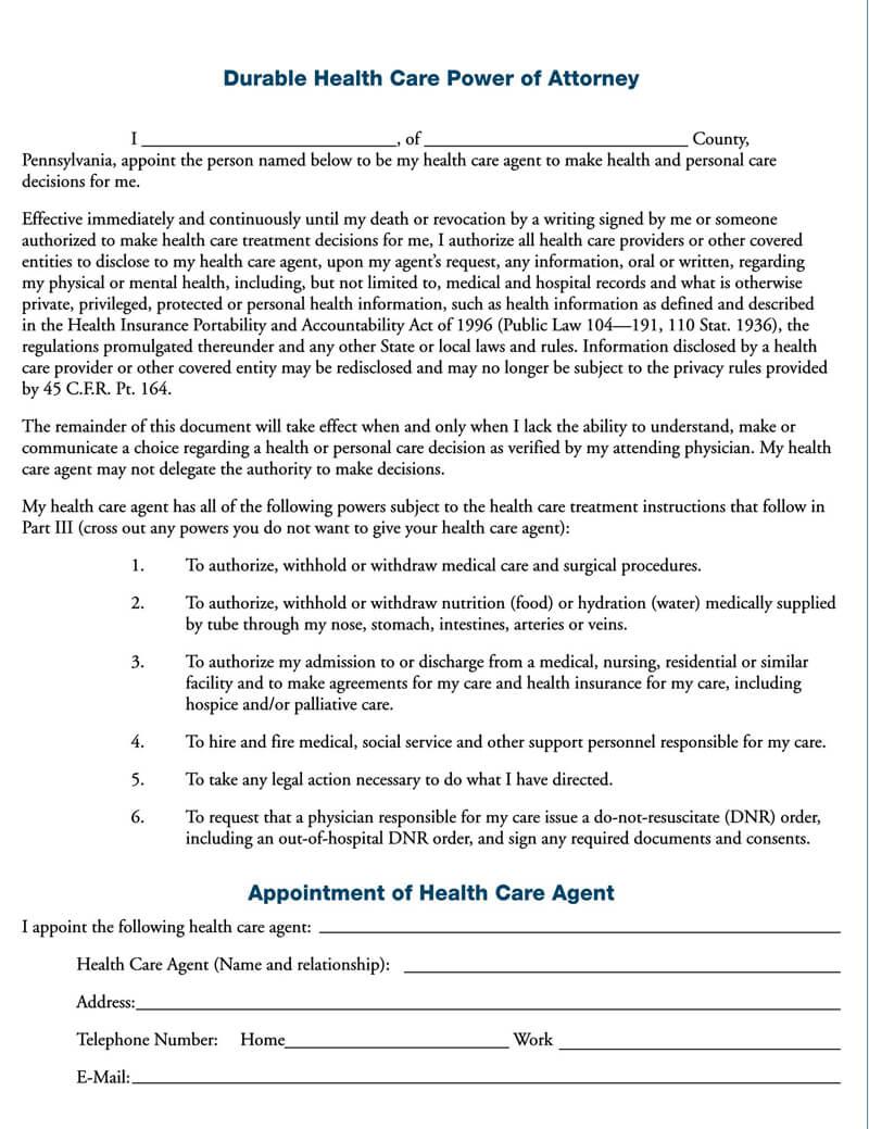 Pennsylvania Medical POA Form