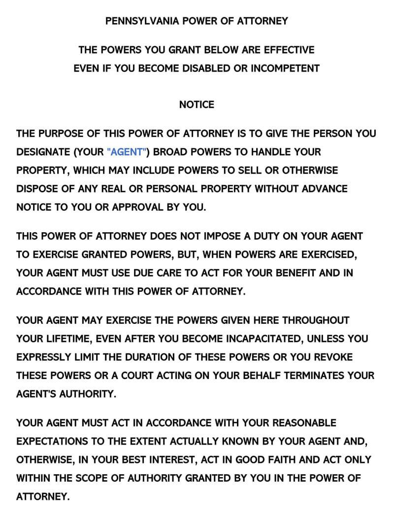 Pennsylvania Power of Attorney Form