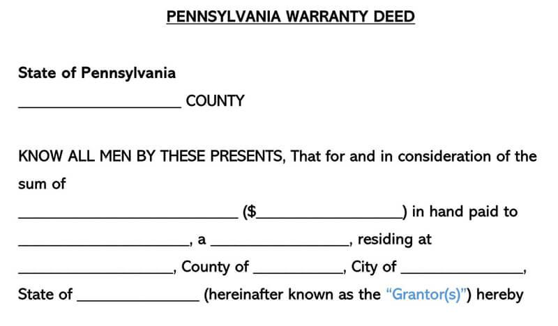 Pennsylvania Warranty Deed Form