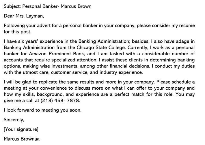 Personal Banker Cover Letter email example