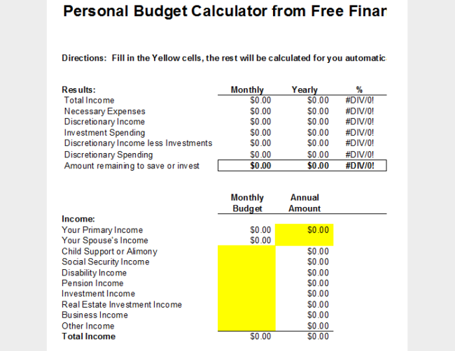 Personal Budget Analysis Template