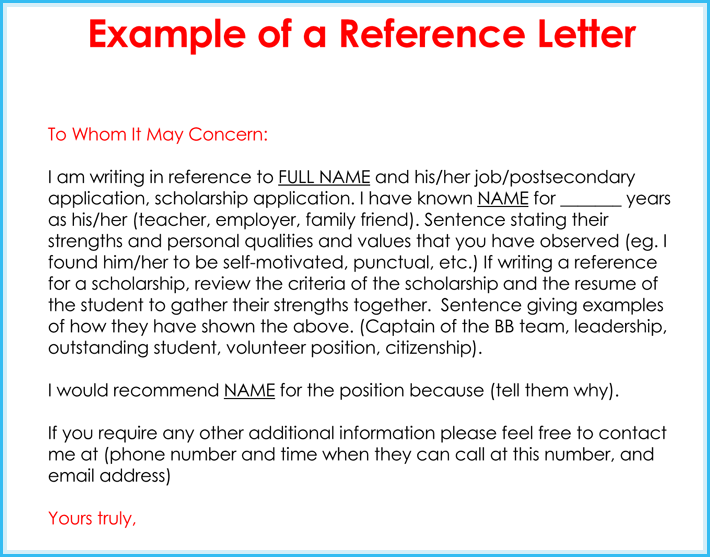 free edit personal reference letter