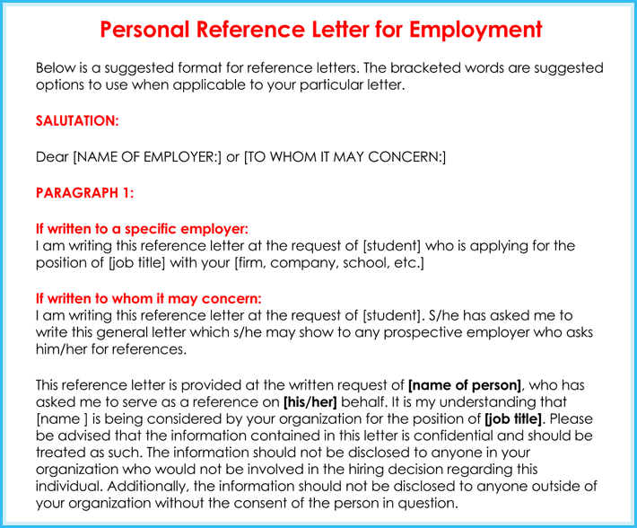 Letter Of Employment Personal Reference Sample