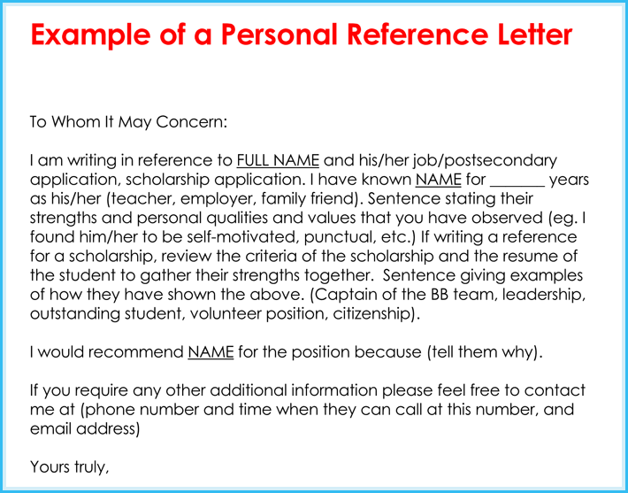 Personal Reference Letter 11 Samples Formats
