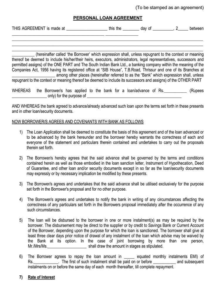 38 Free Loan Agreement Templates Forms Word Pdf
