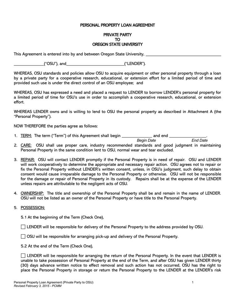 Personal Property Loan Agreement Template