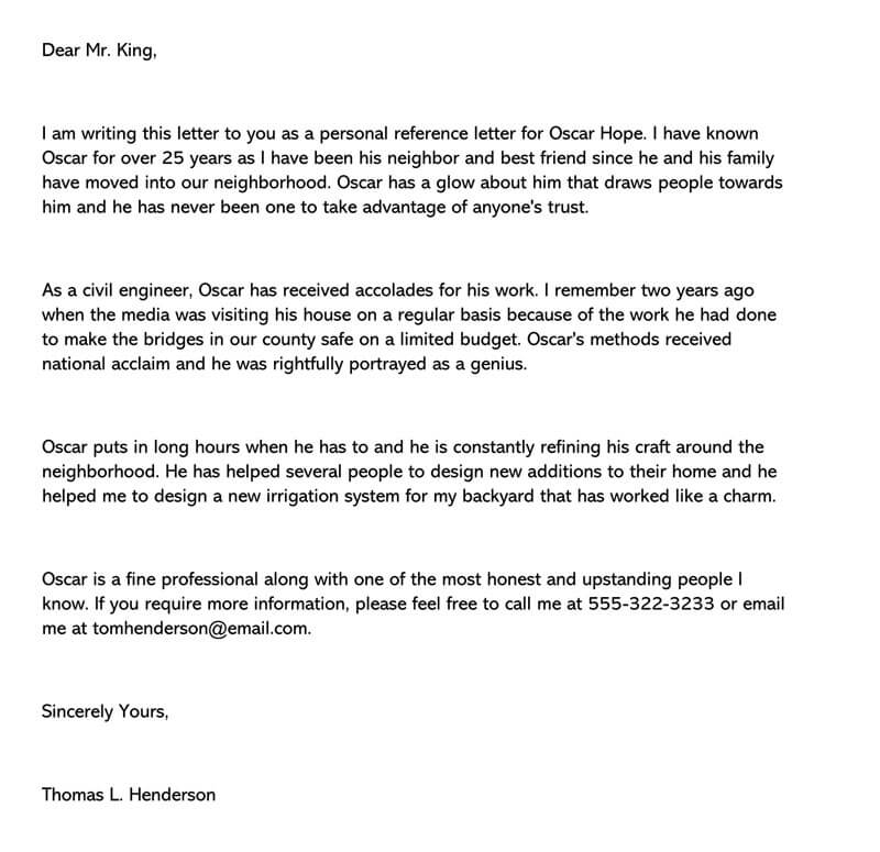 Personal Recommendation Letter for Friend (15+ Samples ...