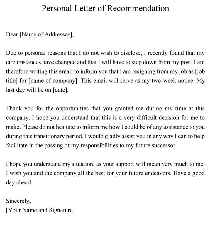 personal recommendation letter template