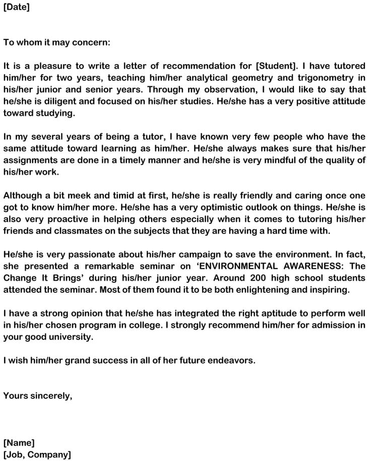 personal recommendation letter format