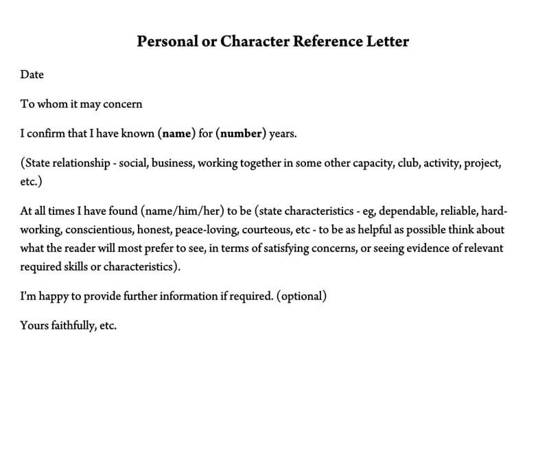 Personal or Character Reference Letter