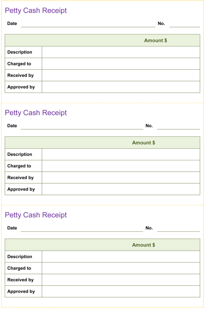 Petty Cash Receipt Template  Money Receipt Template