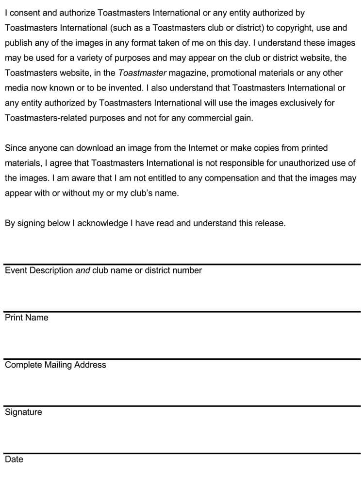 Photo Release Form 09