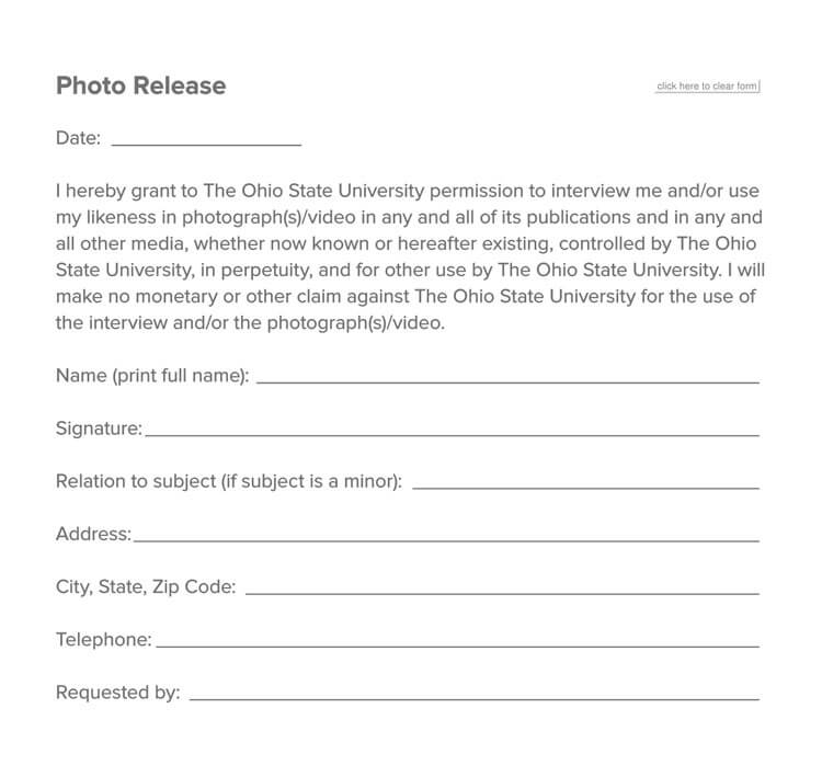 Photo Release Form 14