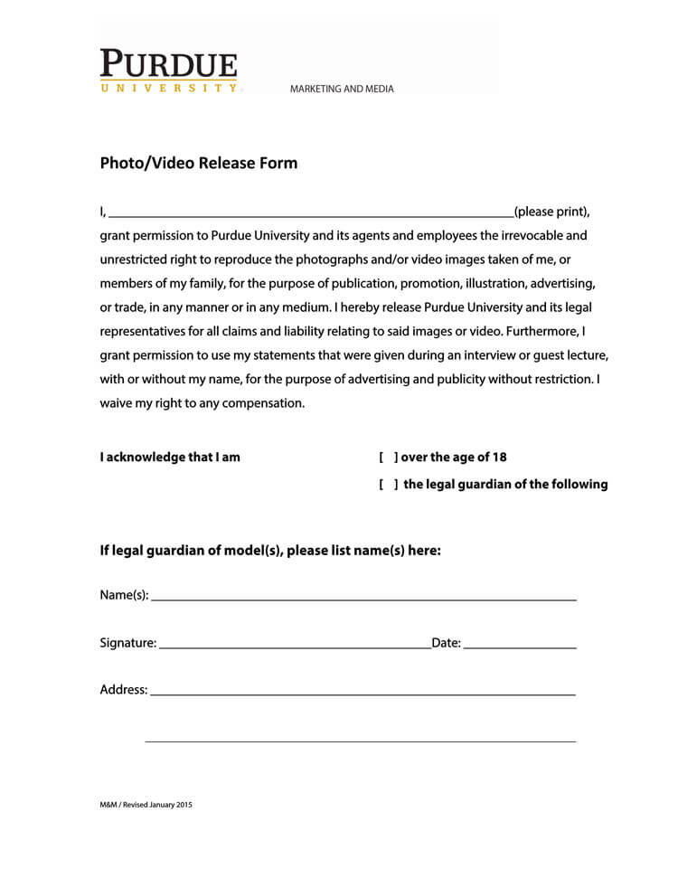 Photo Video Release form