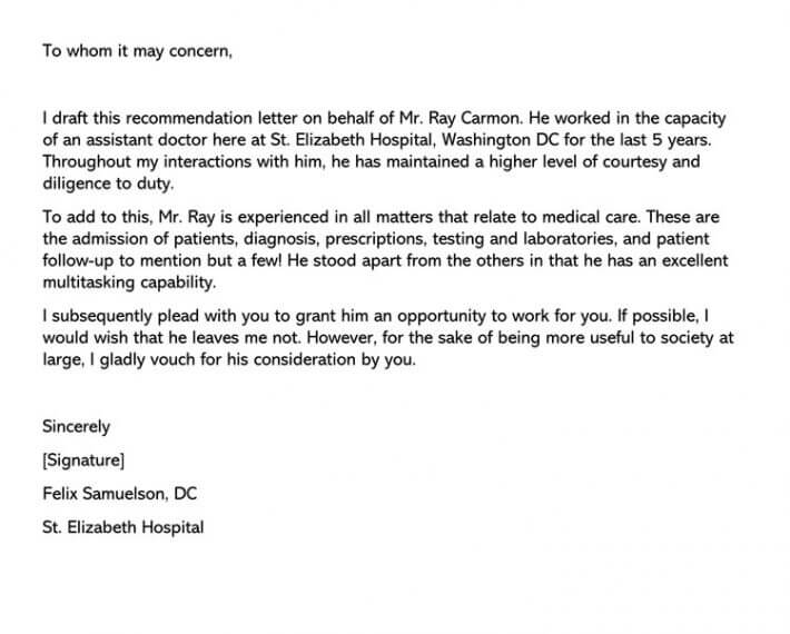 Physician Assistant Letter of Recommendation Sample