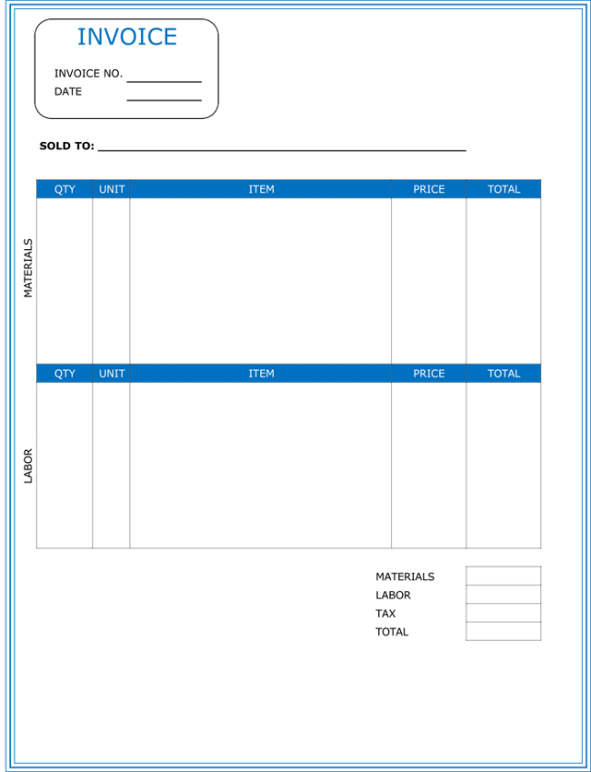 Contractor Invoice Template 6 Printable Contractor Invoices – Labor Invoice Template Free