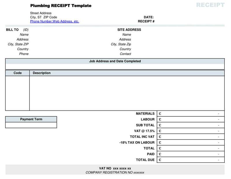 Plumbing Contractor Receipt PDF