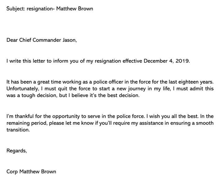 Police officer resignation letter (Email Example)