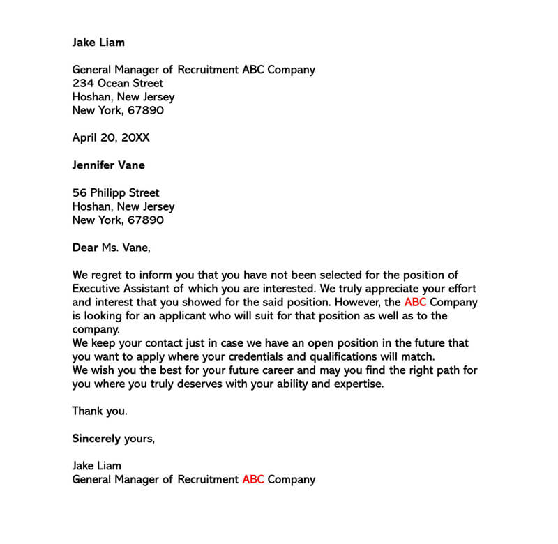 Polite Employment Rejection Letter