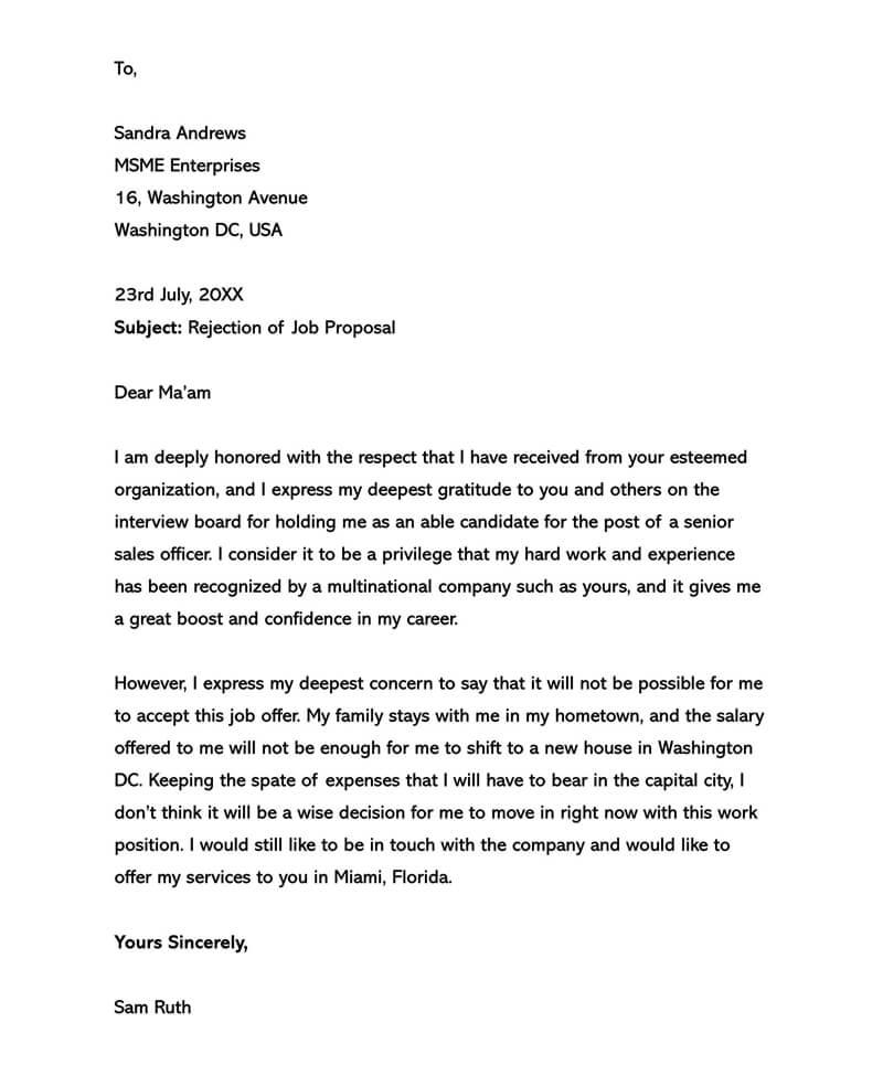 Polite Proposal Rejection Letter