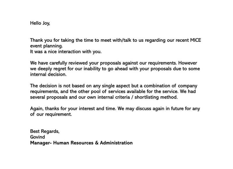 Polite Rejection Letter 03