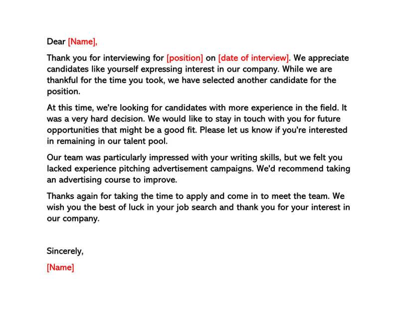 Polite Rejection Letter After Interview
